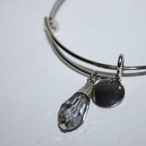 Crystal and silver charm bangle bracelet